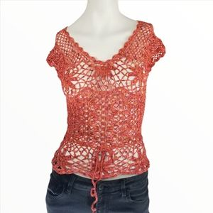 GUESS Authentic Label Boho Small Crochet Top Pink